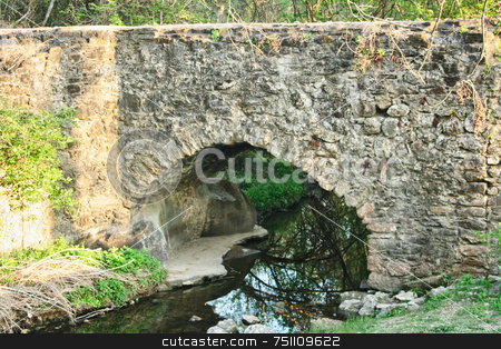 Stone Bridge stock photo, A stone bridge over a shallow creek by Kevin Tietz