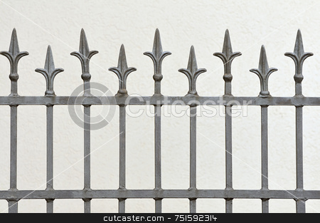 Fence stock photo, Wrought iron fence with decotative arrows by Massimiliano Leban