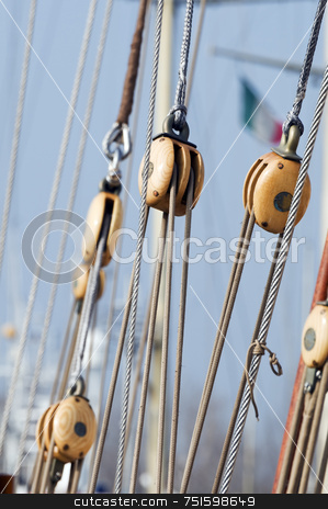 Blocks stock photo, Wooden blocks on an old sail boat by Massimiliano Leban