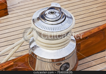 Winch stock photo, Close-up on a winch used to control sails on a sailboat by Massimiliano Leban