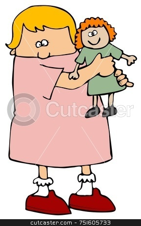 Girl Holding A Doll stock photo, This illustration depicts a small girl holding a doll. by Dennis Cox