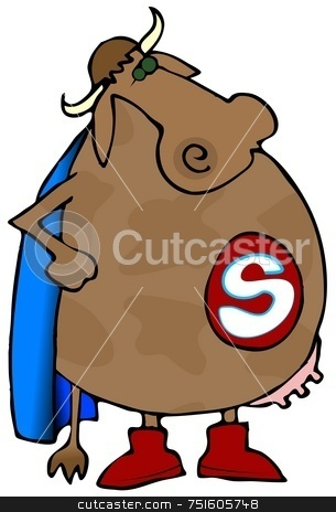 Super Cow stock photo, This illustration depicts a cow wearing a superhero cape. by Dennis Cox