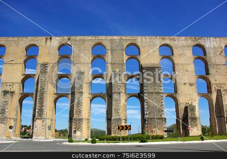 Aqueduct  in old city of Elvas. stock photo, Aqueduct  in old city of Elvas, south of Portugal. by Inacio Pires