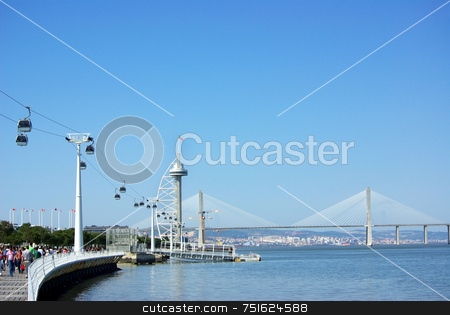 Ferry cable in Lisbon. stock photo, Ferry cable with sight of the tower and bridge in Lisbon. by Inacio Pires
