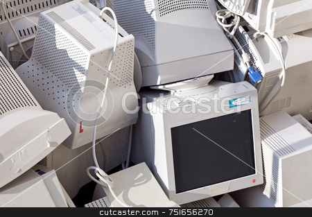 Monitors stock photo, Stack of old pc monitors by Massimiliano Leban