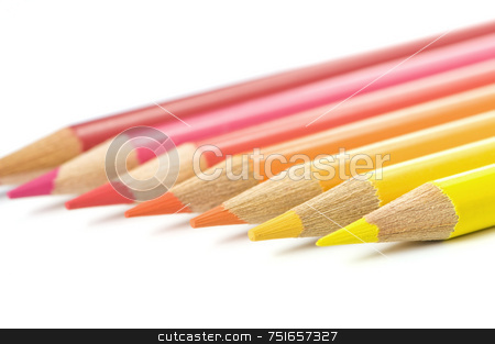 Coloured pencils stock photo, Coloured pencils from yellow to red, isolated on white by Massimiliano Leban