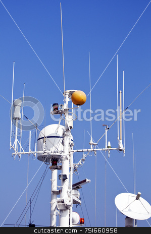 Ship mast stock photo, Antenna mast with radar and satellite on a boat by Massimiliano Leban