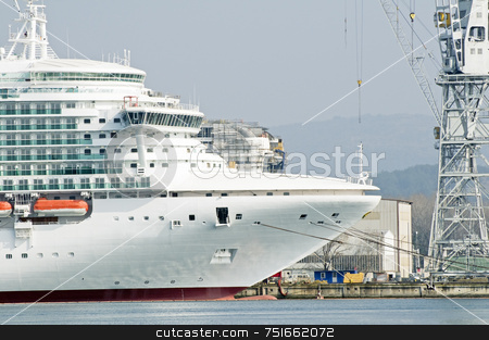 Shipyard stock photo, Cruise ship under construction with another in background by Massimiliano Leban