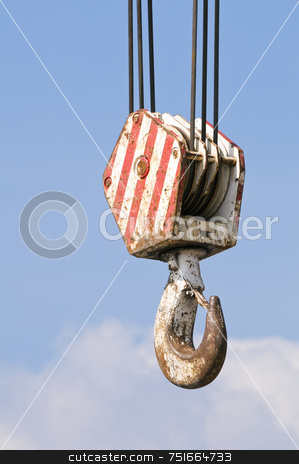 Hook stock photo, Red and white hook against blue sky by Massimiliano Leban