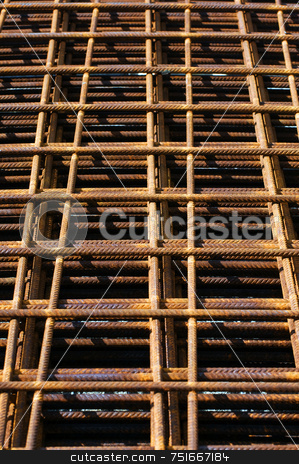 Steel reinforcement stock photo, Rusty steel net for reinforcement of concrete by Massimiliano Leban