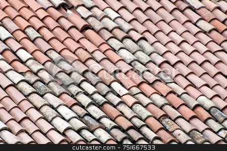 Roof tiles stock photo, New and old roof tiles by Massimiliano Leban