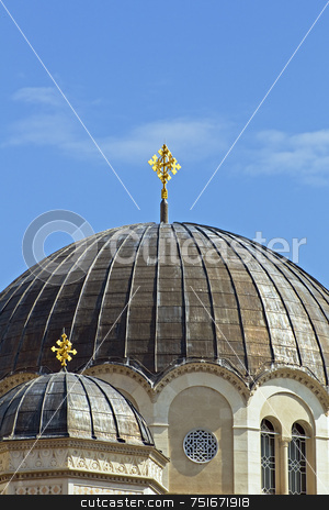 Domes stock photo, Detail of Serbian-Orthodox church of St.Spiridione in Trieste (Italy) by Massimiliano Leban