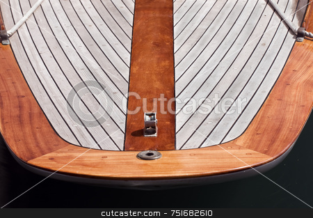 Sailboat stock photo, Rear view of an aged wooden sailboat by Massimiliano Leban