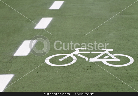 Bike route stock photo, Bike route with painted bicycle symbol by Massimiliano Leban
