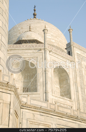 Taj Mahal Upward view stock photo, Taj Mahal Upward point of view by A Cotton Photo