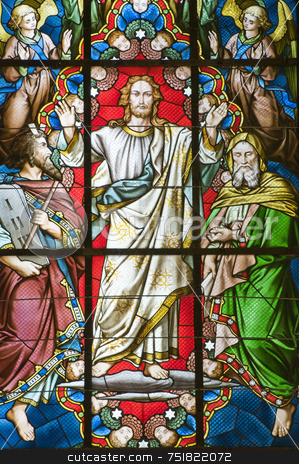 Stained glass window stock photo, Detail of coloured Stained glass window with jesus by Massimiliano Leban