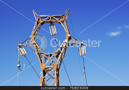 High voltage pylon stock photo, High voltage pylon against blue sky by Massimiliano Leban
