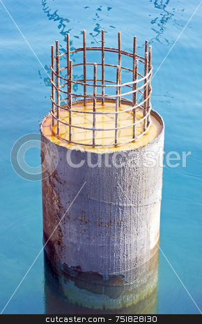 Pier pylon stock photo, Close-up of pier pilon under construction by Massimiliano Leban