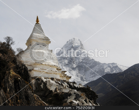 Buddhist Stup of Nepal stock photo, Buddhist Stupa in Mt. Everest Valley by A Cotton Photo