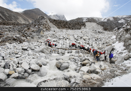 Expedition team to Everest stock photo, Expedition team to Everest by A Cotton Photo