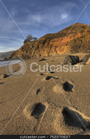 Footprints in Sand stock photo, Big Sur Footprints in sand by A Cotton Photo