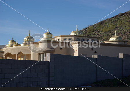 Sikh Temple (Gurdwara) stock photo, TOUCH of the ORIENT - This Sikh Temple (Gurdwara) in Glendale, Arizona's mountain foothills is viewed by thousands of motorists daily using the northern 101 loop expressway to escape the heavy Phoenix metropolitan traffic. The Gurdwara has nine golden domes.  The U.S. is home to more than 500,000 Sikhs whose religion (world's 5th largest) was born in Pakistan and India in the 15th century.  More than 1,500 Sikhs live in the greater Phoenix area (February 10, 2008). by Dennis Thomsen