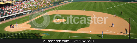Baseball Pitch stock photo, A view of a baseball pitch from the crowd. by Lucy Clark