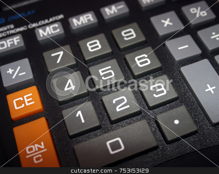 Calculator stock photo, A macro of a big electronic calculator. by Lucy Clark