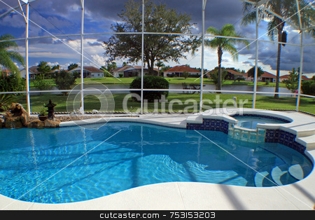 Swimming Pool stock photo, Swimming Pool and Spa with Lake View by Lucy Clark