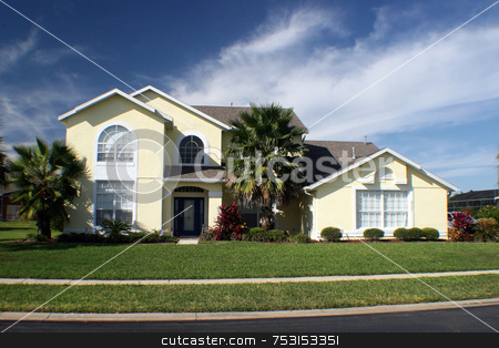 New Home stock photo, A new home in Florida with blue sky. by Lucy Clark