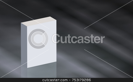 Plain Product Box stock photo, Plain white product box on glossy gradient metallic reflective surface. Box is plain upright rectangle with three shaded sides. Smooth diagonals on neutral  dark grey metal. Box is offset left with room for text. HIgh qiality 3D render. by ngirl