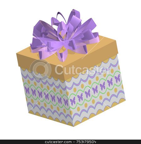 Spring or Easter Gift stock photo, Spring or Easter gift box with dark gold box lid and fluffy loopy and reflective purple bow. Box is tilted to left. Patterned box bottom has butterflies, dots, and scallops in teirs. by ngirl
