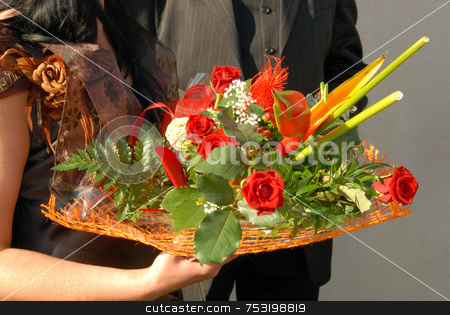 BRIDES FLOWERS - WEDDING stock photo, Wedding couple showing hands and flowers by Joanna Szycik