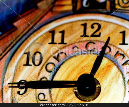 Clock stock photo, A macro of a clock. minute and hour hands by Lucy Clark