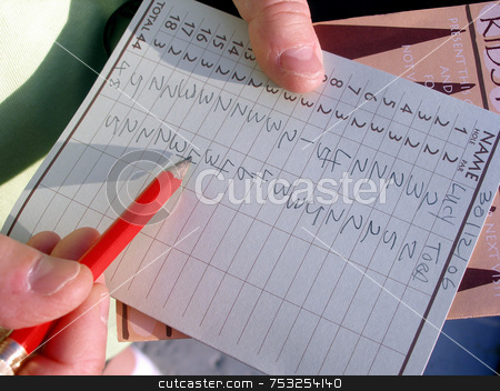 Score Card stock photo, A mini golf score card after the game. by Lucy Clark