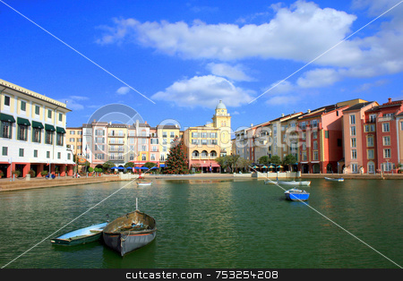 Hotel and Boats stock photo, A hotel with boats on a lake. by Lucy Clark