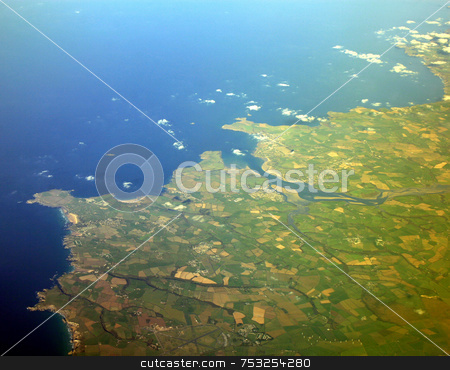 The Ground Below stock photo, The south west of England, UK from an aeroplane. by Lucy Clark