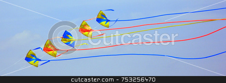 Flying Kites stock photo, Flying kites in the blue sky of Florida. by Lucy Clark