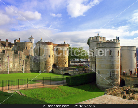 Tower of London stock photo, Tower of London in London, UK, great sky. by Lucy Clark