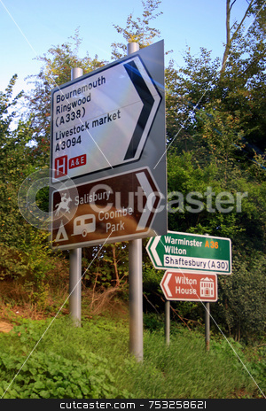 Directional signs stock photo, Signs to different places in the UK. by Lucy Clark