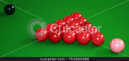 Snooker Balls stock photo, Snooker table with the red balls pink and black ball. by Lucy Clark