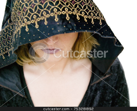 Sorcerress stock photo, New Age priestess Under a Hood by Scott Griessel