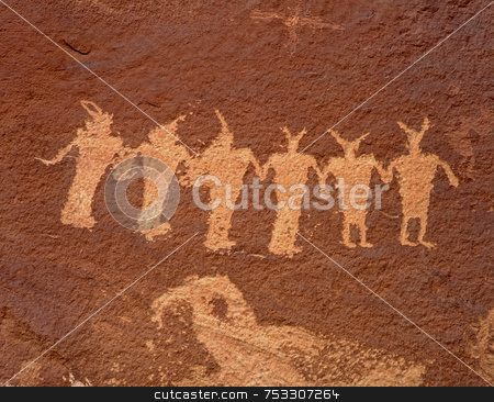 Indian Petroglyphs 2 stock photo, Ancient Indian Petroglyphs along the Colorado River in Utah. by Mike Norton