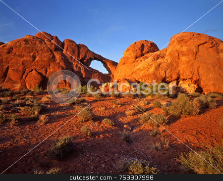 Skyline Arch 1 stock photo, Skyline Arch in Arches National Park, Utah. by Mike Norton