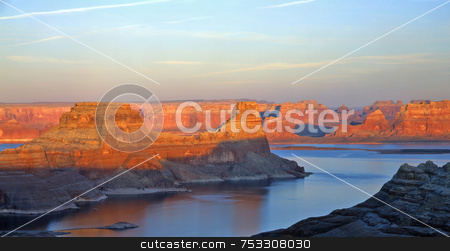Gun Sight Butte 1 stock photo, Gun Sight Butte and Lake Powell in the Glen Canyon National Recreation Area, Utah. by Mike Norton