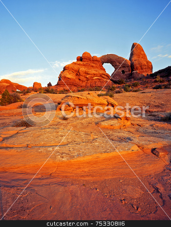 Turret Arch 1 stock photo, Turret Arch in Arches National Park, Utah. by Mike Norton