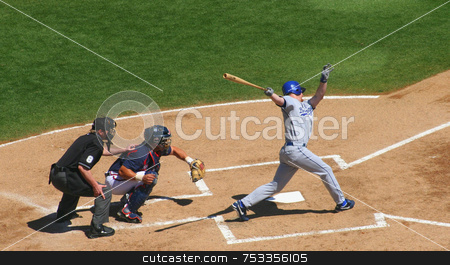 Baseball stock photo, Playing baseball, batter, catcher and umpire by Lucy Clark