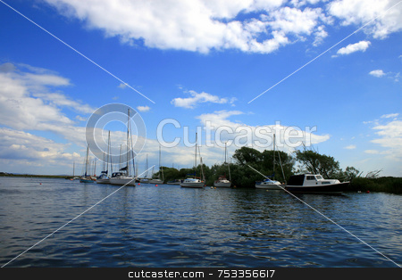 Christchurch River stock photo, Christchurch river with boats and blue sky. by Lucy Clark