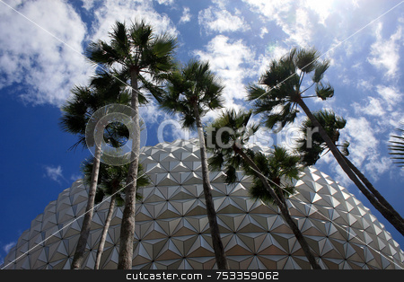 Upward View stock photo, Palms Trees and a building behind by Lucy Clark