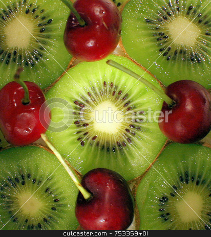 Kiwi and Cherries stock photo, A macro of some kiwi and cherries. by Lucy Clark